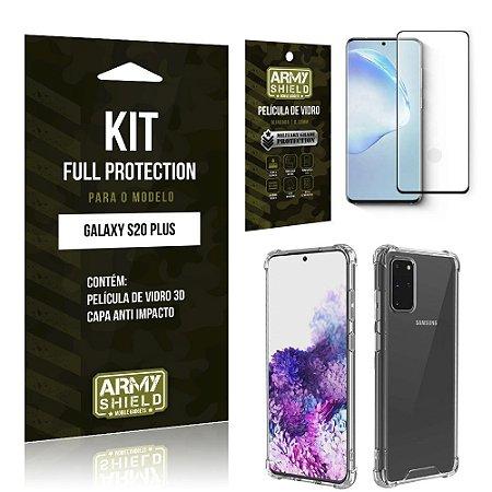Combo Full Protection Galaxy S20 PlusPelícula de Vidro 3D + Capa Anti Impacto 3D - Armyshield