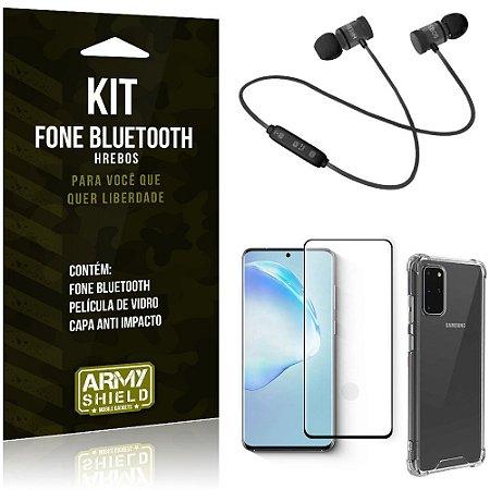 Kit Fone Bluetooth Hrebos Galaxy S20 Plus + Capa Anti + Película Vidro - Armyshield