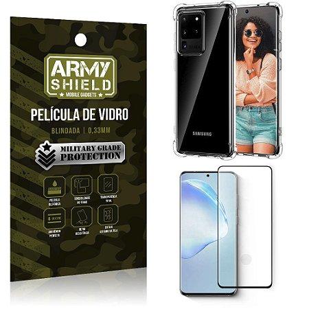 Capinha + Película de Vidro Blindada Full Cover 3D Galaxy S20 Ultra- Armyshield
