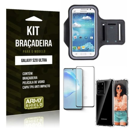 Braçadeira Sporte Galaxy S20 Ultra+ Capinha Anti Impacto + Película de Vidro 3D - Armyshield