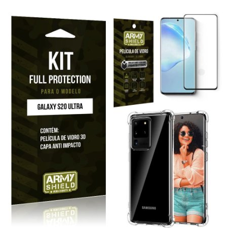 Combo Full Protection Galaxy S20 Ultra Película de Vidro 3D + Capa Anti Impacto 3D - Armyshield