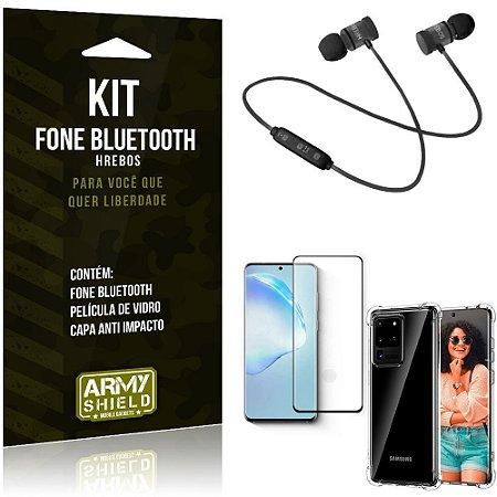 Kit Fone Bluetooth Hrebos Galaxy S20 Ultra + Capa Anti + Película Vidro - Armyshield
