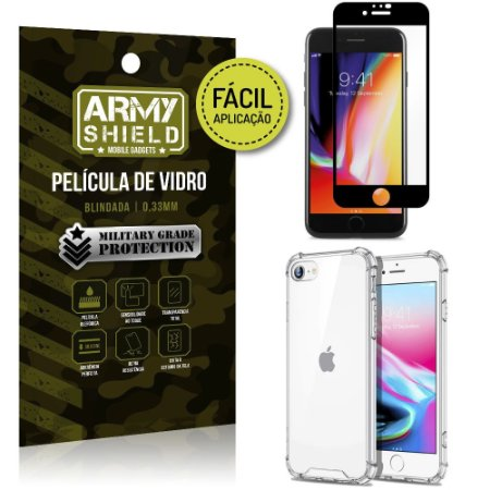 Kit Película 3D Fácil Aplicação iPhone SE 2020 Película 3D + Capa Anti Impacto - Armyshield