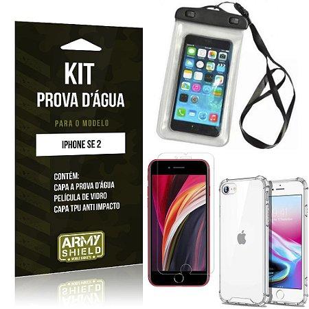Kit Prova D'água iPhone SE 2020 Capinha Prova D'água + Capinha Anti Impacto + Película - Armyshield
