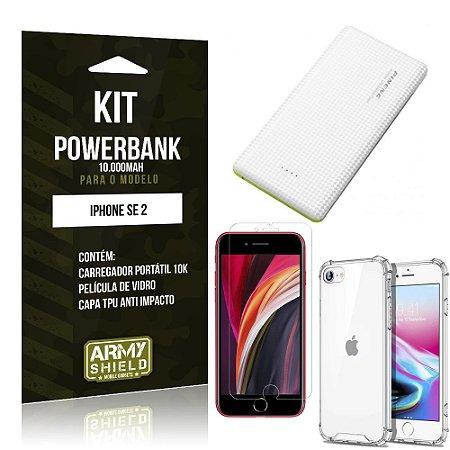 Kit Carregador Portátil 10K iPhone SE 2020 + Capa Anti Impacto +Película Vidro - Armyshield