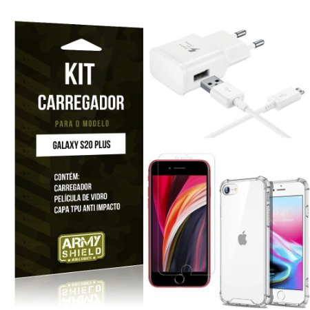 Kit Carregador iPhone SE 2020 + Capinha Anti Impacto + Película de Vidro - Armyshield