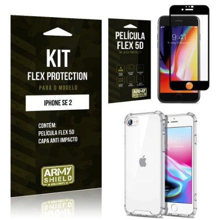 Kit Flex Protection iPhone SE 2020 Capa Anti Impacto + Película Flex 5D - Armyshield