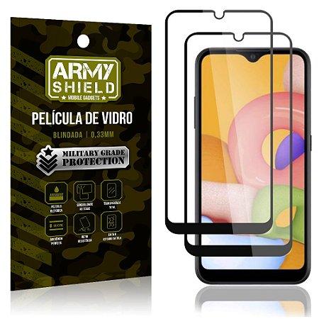 Kit 2 Películas de Vidro Blindada 3D Full Cover Galaxy A01 - Armyshield