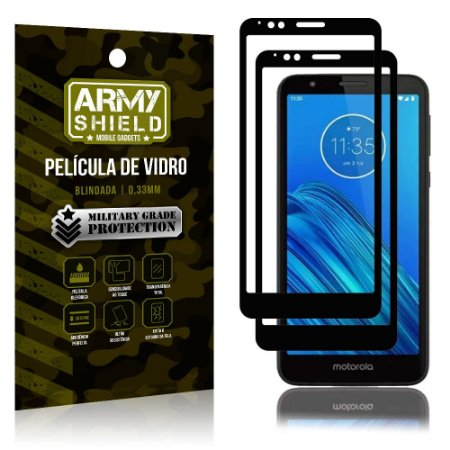 Kit 2 Películas de Vidro Blindada 3D Full Cover Moto E6 - Armyshield
