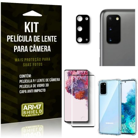 Kit Película de Câmera Galaxy S20 + Película 3D + Capa Anti Impacto - Armyshield