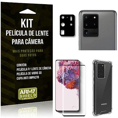 Kit Película de Câmera Galaxy S20 Ultra + Película 3D + Capa Anti Impacto - Armyshield