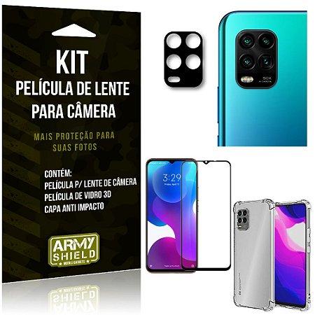 Kit Película de Câmera Xiaomi Mi 10 Lite + Película 3D + Capa Anti Impacto - Armyshield