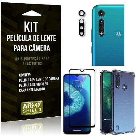 Kit Película de Câmera Moto G8 Power Lite + Película 3D + Capa Anti Impacto - Armyshield