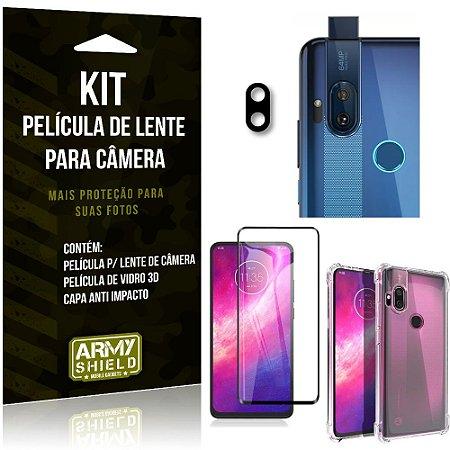 Kit Película de Câmera Moto One Hyper + Película 3D + Capa Anti Impacto - Armyshield