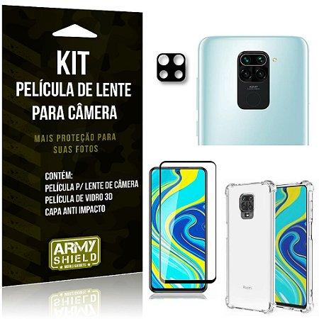 Kit Película de Câmera Redmi Note 9S + Película 3D + Capa Anti Impacto - Armyshield