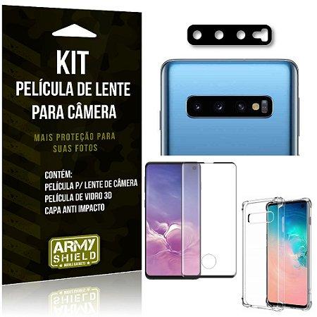 Kit Película de Câmera Galaxy S10 + Película 3D + Capa Anti Impacto - Armyshield