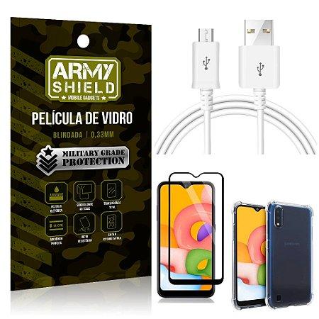 Kit Cabo Usb 2M Galaxy A01 + Capa Anti Impacto + Película Vidro 3D - Arymshield
