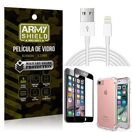 Kit Cabo Usb 2m Lightning iPhone 6 - 6S + Capa Anti Impacto + Película Vidro 3D - Arymshield