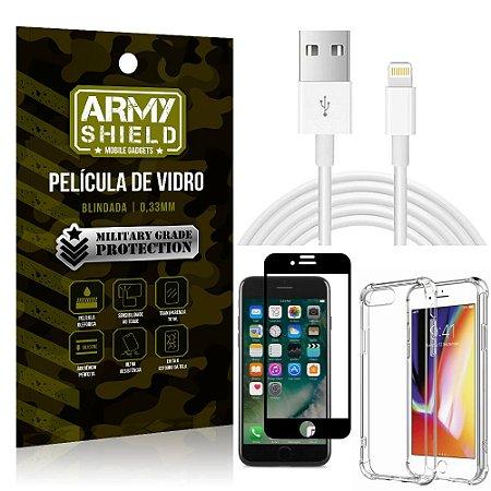 Kit Cabo Usb 2m Lightning iPhone 7 Plus + Capa Anti Impacto + Película Vidro 3D - Arymshield