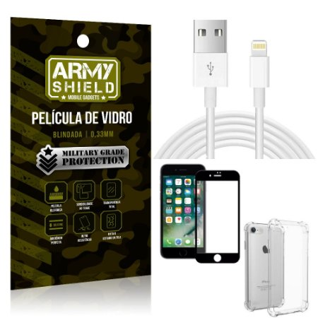 Kit Cabo Usb 2m Lightning iPhone 8 + Capa Anti Impacto + Película Vidro 3D - Arymshield