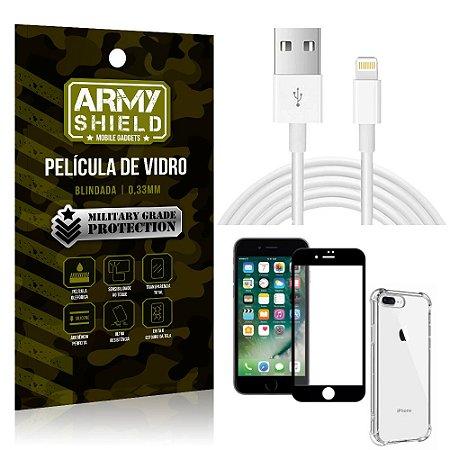 Kit Cabo Usb 2m Lightning iPhone 8 Plus + Capa Anti Impacto + Película Vidro 3D - Arymshield