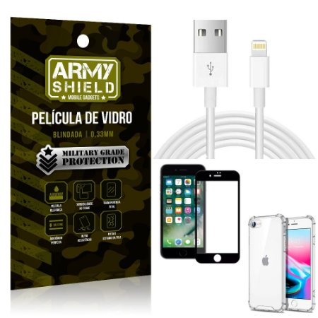 Kit Cabo Usb 2m Lightning iPhone SE 2020 + Capa Anti Impacto + Película Vidro 3D - Arymshield