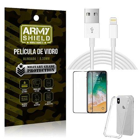 Kit Cabo Usb 2m Lightning iPhone X + Capa Anti Impacto + Película Vidro 3D - Arymshield