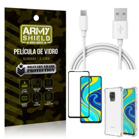 Kit Cabo Usb 2m Tipo C Redmi Note 9 Pro + Capa Anti Impacto + Película Vidro 3D - Arymshield