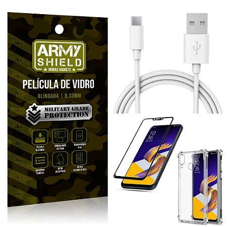 Kit Cabo Usb 2m Tipo C Zenfone 5Z ZS620KL + Capa Anti Impacto + Película Vidro 3D - Arymshield