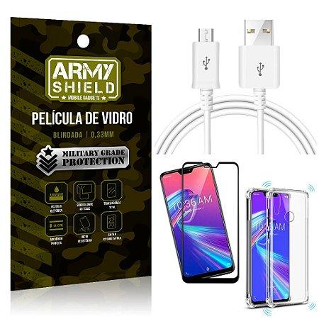 Kit Cabo Usb 2M Zenfone Max Pro M2 ZB631KL + Capa Anti Impacto + Película Vidro 3D - Arymshield