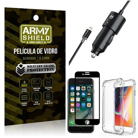 Carregador Veicular Turbo 4.0 Lightning iPhone 7 + Capa Anti Impacto + Película Vidro 3D