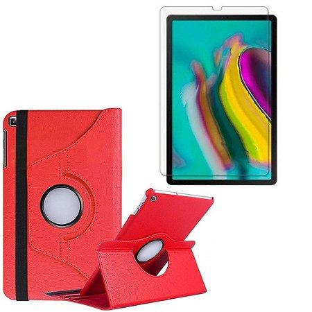 Capa Giratória Vermelha + Película de Vidro Blindada Samsung Galaxy Tab S5e 10.5 T725 - Armyshield