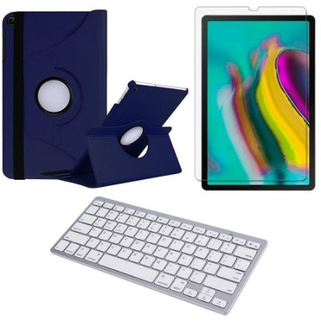 Capa Giratória Azul Marinho Samsung Tab S5e 10.5 T725 + Película + Teclado - Armyshield