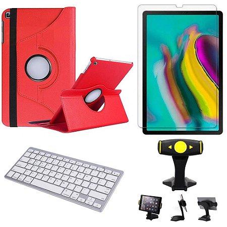 Capa Giratória Vermelha Samsung Tab S5e 10.5 T725 + Película + Teclado + Suporte de Mesa -Armyshield