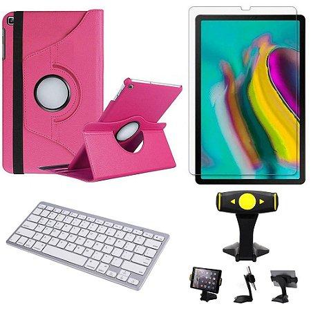Capa Giratória Pink Samsung Tab S5e 10.5 T725 + Película + Teclado + Suporte de Mesa - Armyshield