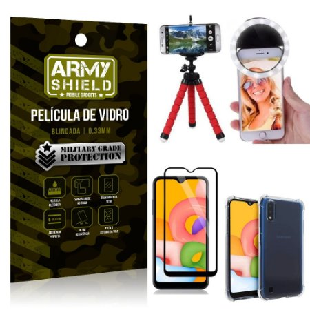 Kit Mini Tripé + Selfie Ring Light Galaxy A01 + Capa Anti Impacto + Película Vidro 3D
