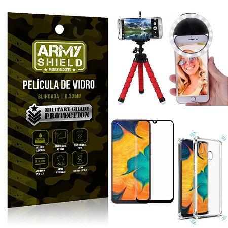 Kit Mini Tripé + Selfie Ring Light Galaxy A20 + Capa Anti Impacto + Película Vidro 3D