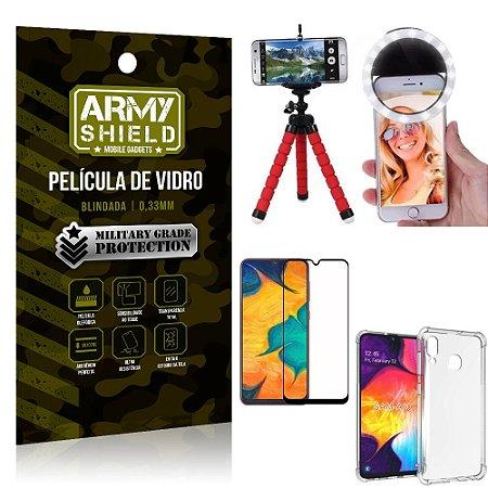 Kit Mini Tripé + Selfie Ring Light Galaxy A30 + Capa Anti Impacto + Película Vidro 3D