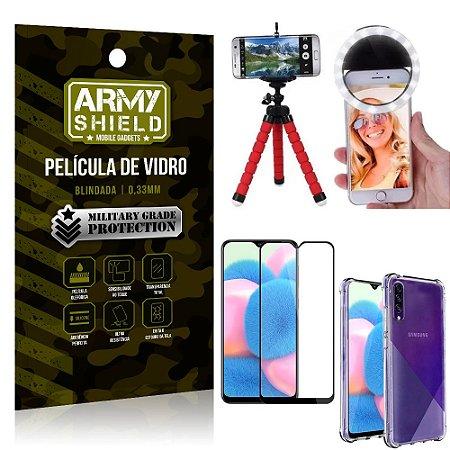 Kit Mini Tripé + Selfie Ring Light Galaxy A30s + Capa Anti Impacto + Película Vidro 3D
