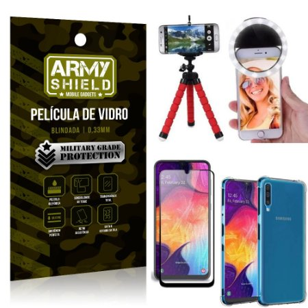 Kit Mini Tripé + Selfie Ring Light Galaxy A50 + Capa Anti Impacto + Película Vidro 3D