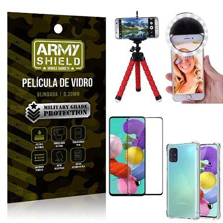 Kit Mini Tripé + Selfie Ring Light Galaxy A51 + Capa Anti Impacto + Película Vidro 3D