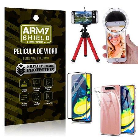 Kit Mini Tripé + Selfie Ring Light Galaxy A80 + Capa Anti Impacto + Película Vidro 3D