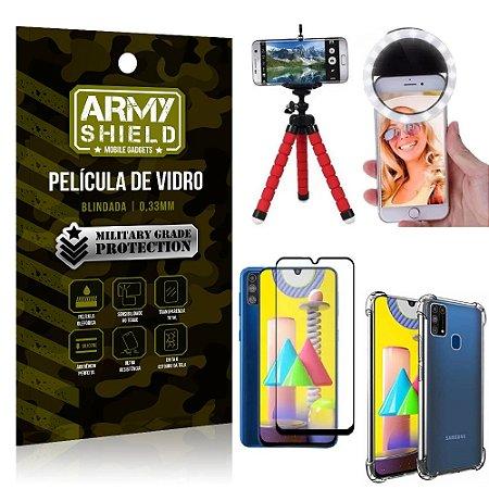 Kit Mini Tripé + Selfie Ring Light Galaxy M31 + Capa Anti Impacto + Película Vidro 3D