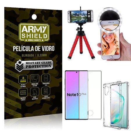 Kit Mini Tripé + Selfie Ring Light Galaxy Note 10 Plus + Capa Anti Impacto + Película 3D