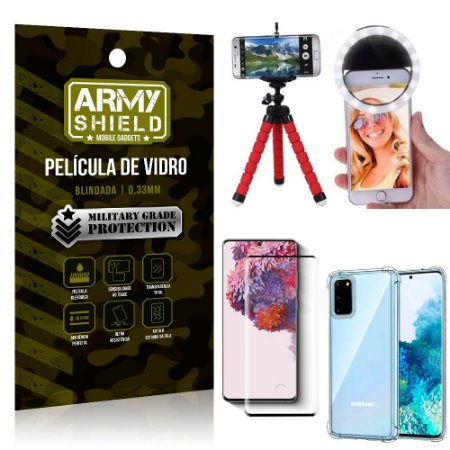Kit Mini Tripé + Selfie Ring Light Galaxy S20 + Capa Anti Impacto + Película Vidro 3D