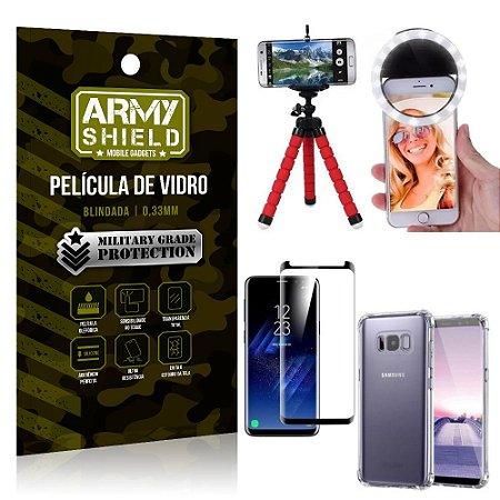 Kit Mini Tripé + Selfie Ring Light Galaxy S8 + Capa Anti Impacto + Película Vidro 3D