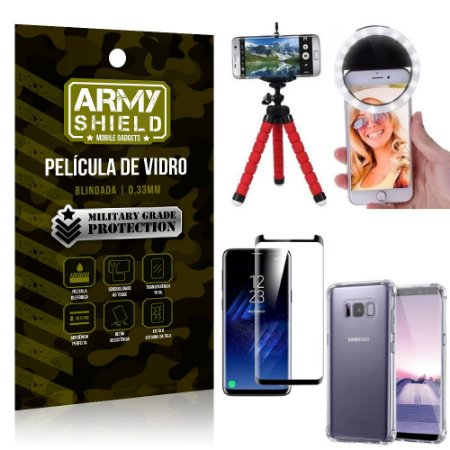 Kit Mini Tripé + Selfie Ring Light Galaxy S8 Plus + Capa Anti Impacto + Película Vidro 3D