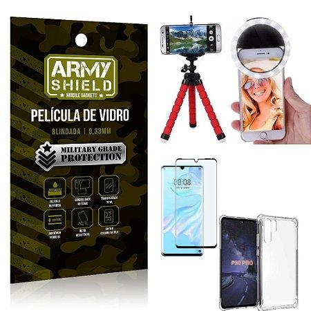 Kit Mini Tripé + Selfie Ring Light Huawei P30 Pro + Capa Anti Impacto + Película Vidro 3D