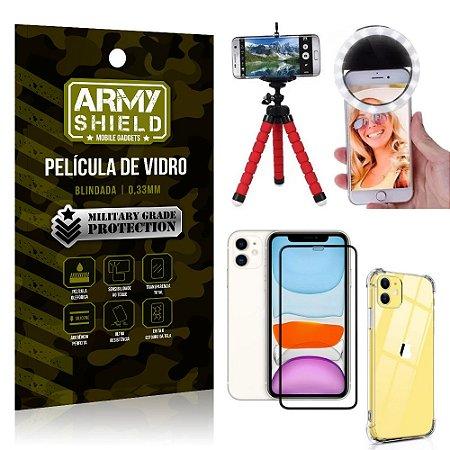 Kit Mini Tripé + Selfie Ring Light iPhone 11 6.1 + Capa Anti Impacto + Película Vidro 3D
