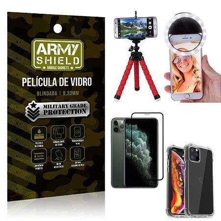 Kit Mini Tripé + Selfie Ring Light iPhone 11 Pro Max 6.5 +Capa Anti Impacto +Película 3D